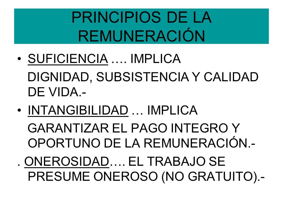PRINCIPIOS DE LA REMUNERACIÓN SUFICIENCIA …. IMPLICA DIGNIDAD, SUBSISTENCIA Y CALIDAD DE VIDA.- INTANGIBILIDAD … IMPLICA GARANTIZAR EL PAGO INTEGRO Y