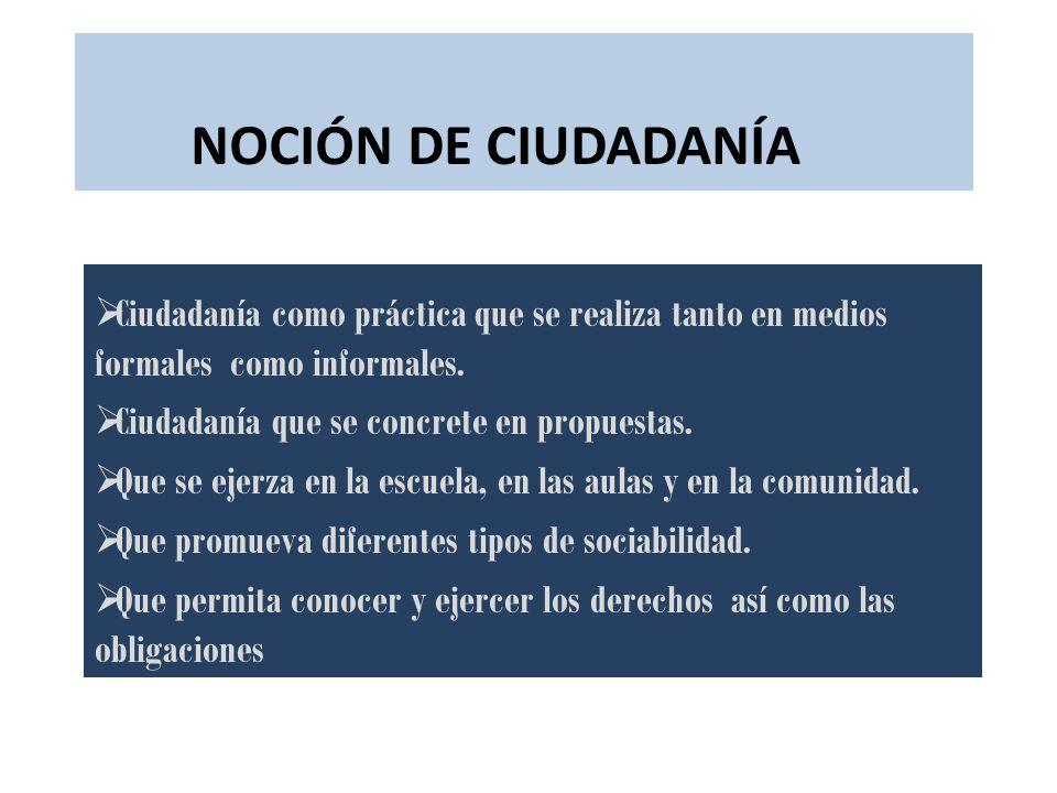NOCIÓN DE CIUDADANÍA Ciudadanía como práctica que se realiza tanto en medios formales como informales. Ciudadanía que se concrete en propuestas. Que s