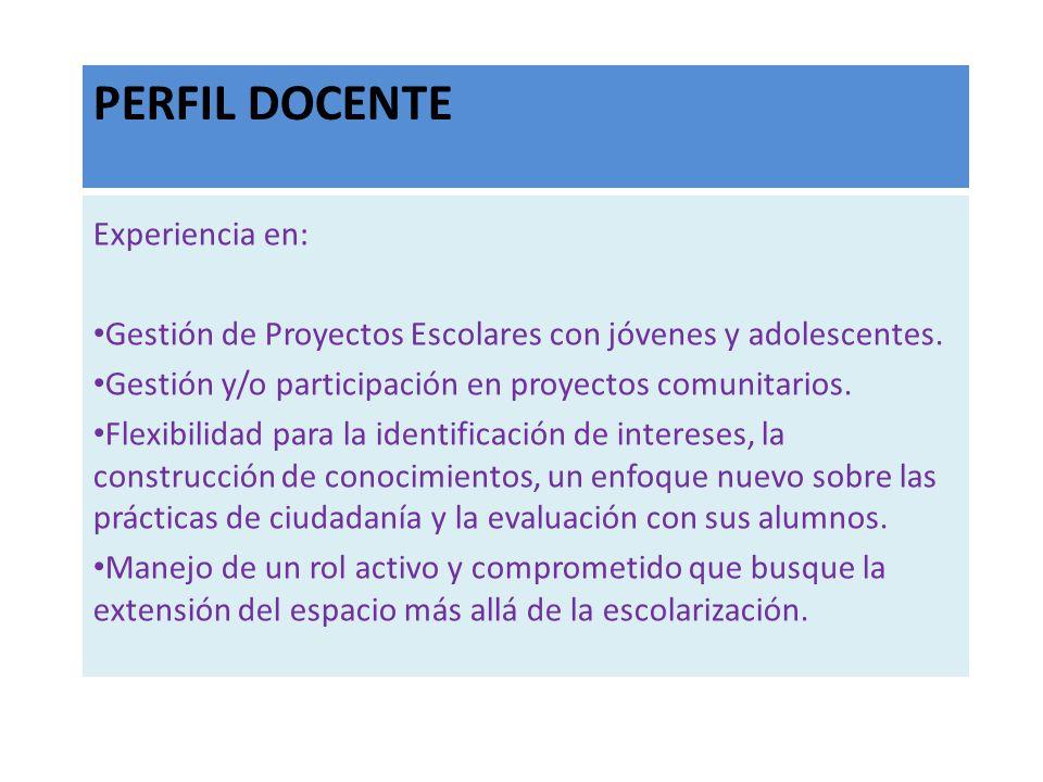 PERFIL DOCENTE Experiencia en: Gestión de Proyectos Escolares con jóvenes y adolescentes. Gestión y/o participación en proyectos comunitarios. Flexibi
