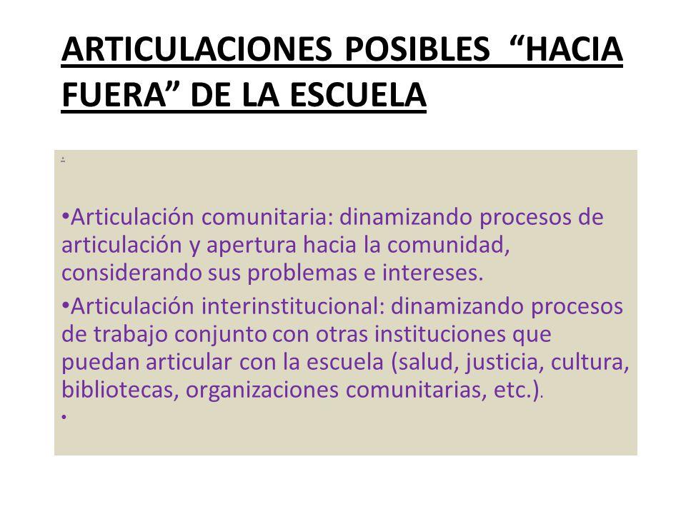 ARTICULACIONES POSIBLES HACIA FUERA DE LA ESCUELA. Articulación comunitaria: dinamizando procesos de articulación y apertura hacia la comunidad, consi