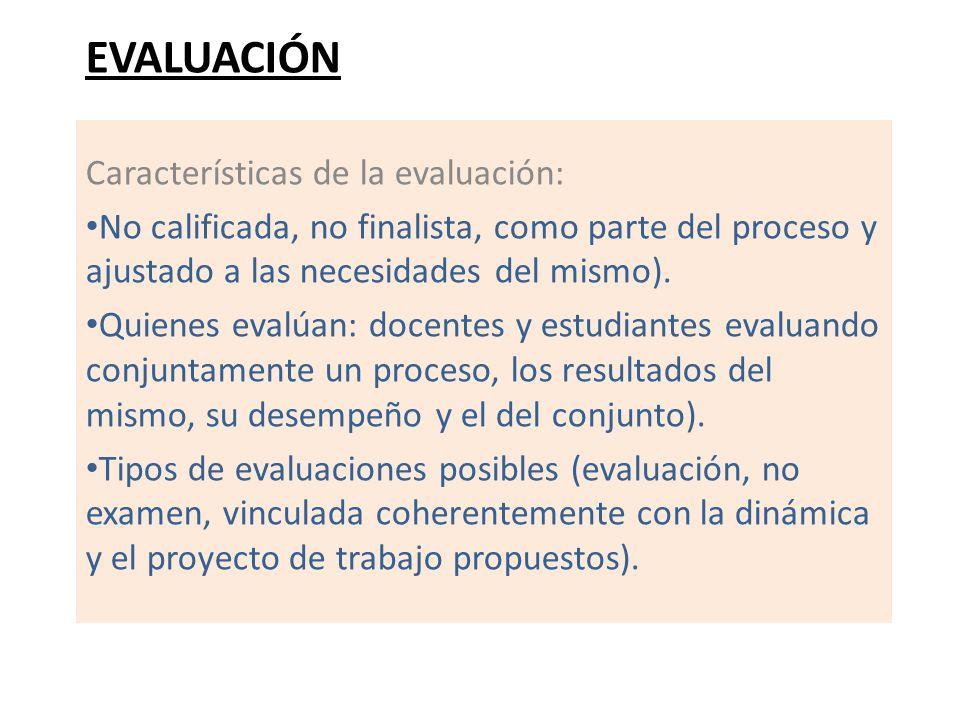 EVALUACIÓN Características de la evaluación: No calificada, no finalista, como parte del proceso y ajustado a las necesidades del mismo). Quienes eval