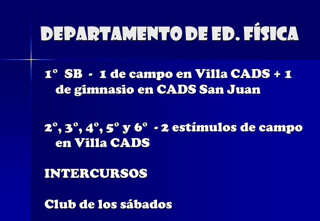 Departamento de Ed. física 1° SB - 1 de campo en Villa CADS + 1 de gimnasio en CADS San Juan 2°, 3°, 4°, 5° y 6° - 2 estímulos de campo en Villa CADS