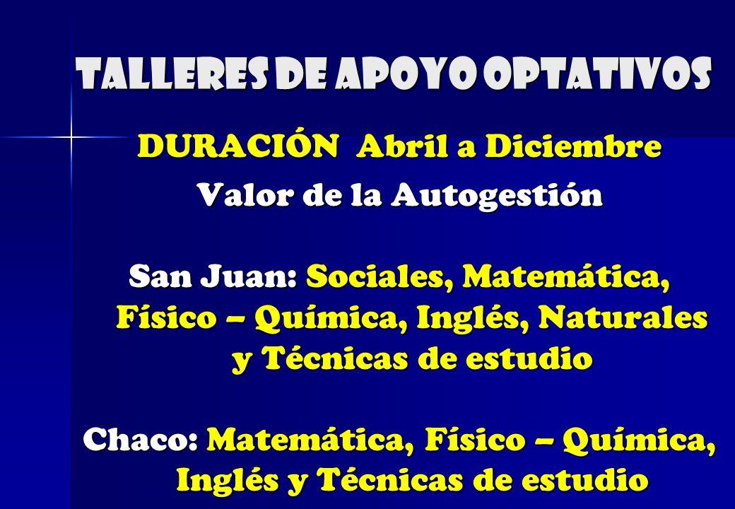 Talleres de apoyo optativos DURACIÓN Abril a Diciembre Valor de la Autogestión San Juan: Sociales, Matemática, Físico – Química, Inglés, Naturales y T
