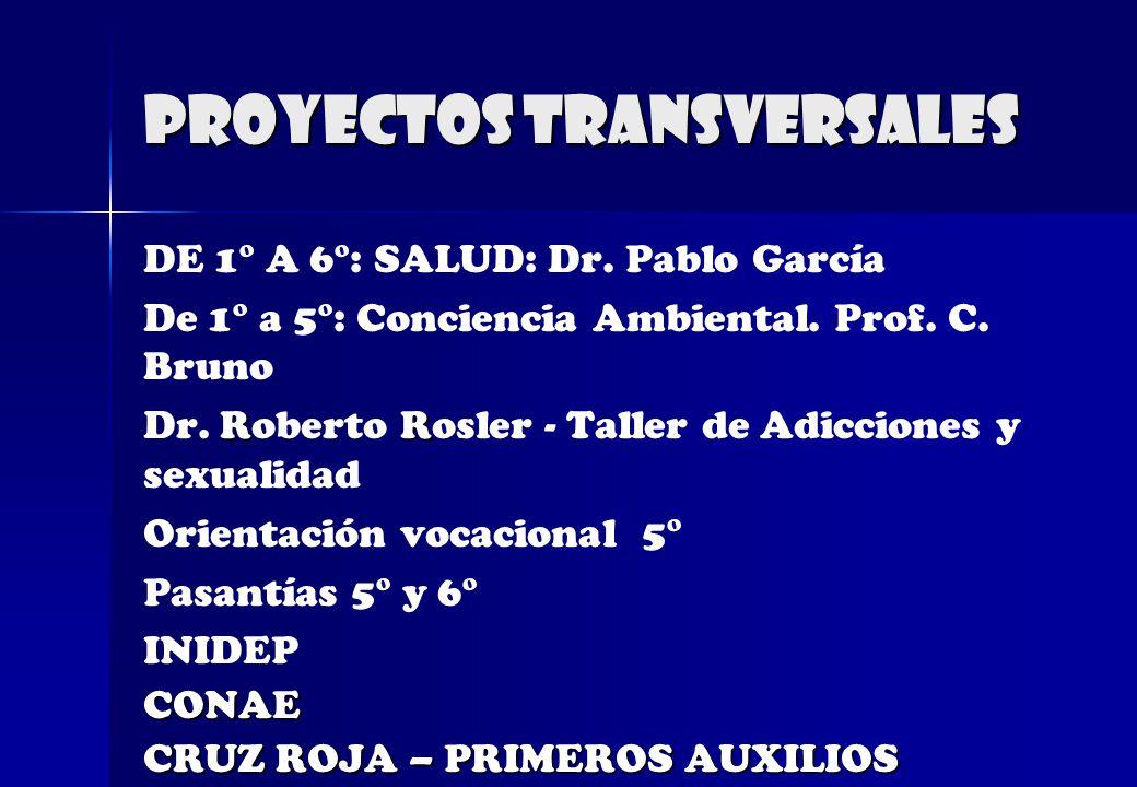 PROYECTOS TRANSVERSALES DE 1° A 6°: SALUD: Dr. Pablo García De 1° a 5°: Conciencia Ambiental. Prof. C. Bruno RR Dr. Roberto Rosler - Taller de Adiccio