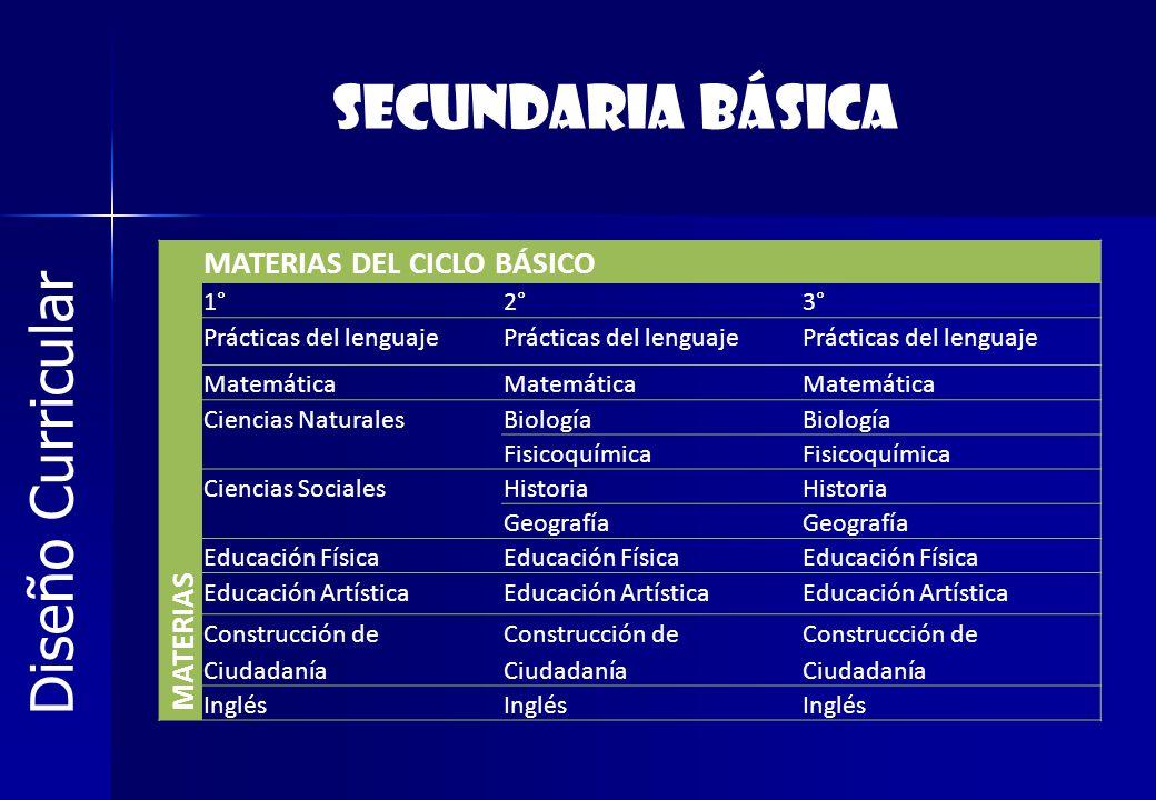 Diseño Curricular MATERIAS MATERIAS DEL CICLO BÁSICO 1°2°3° Prácticas del lenguaje Matemática Ciencias NaturalesBiología Fisicoquímica Ciencias Social