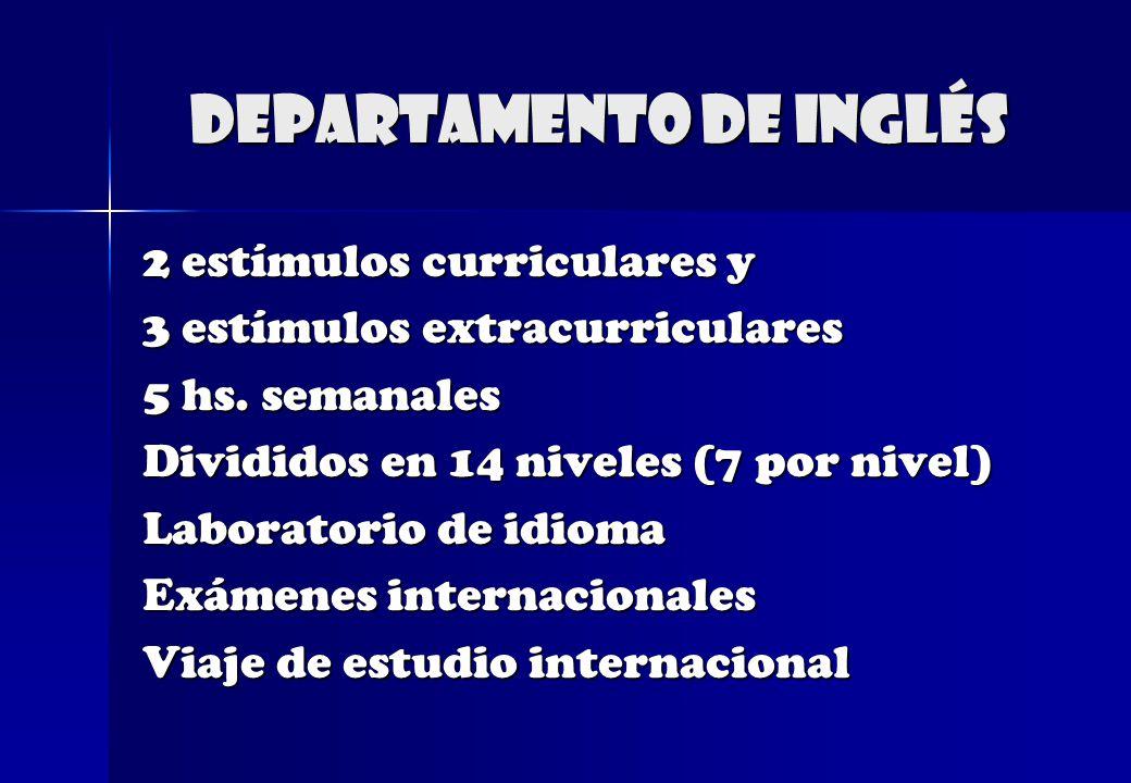 Departamento de Inglés 2 estímulos curriculares y 3 estímulos extracurriculares 5 hs. semanales Divididos en 14 niveles (7 por nivel) Laboratorio de i