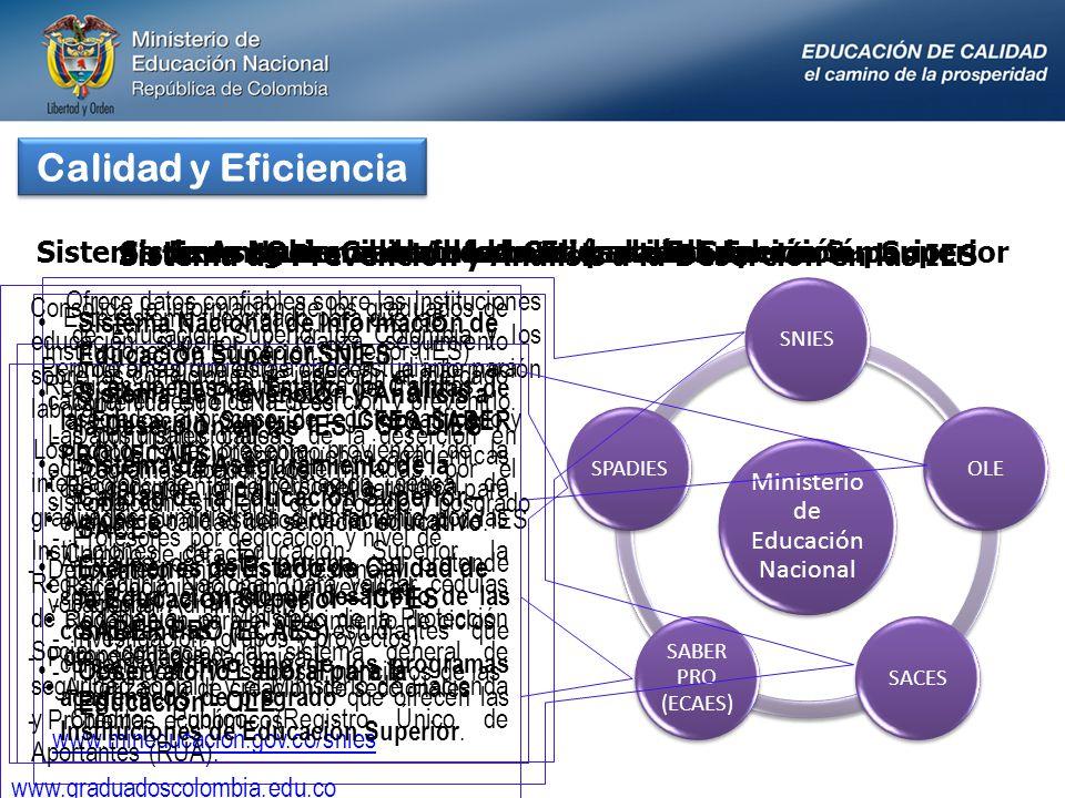 Calidad y Eficiencia Ministerio de Educación Nacional SNIESSPADIES SABER PRO (ECAES) SACESOLE Sistema Nacional de Información de Educación Superior Of