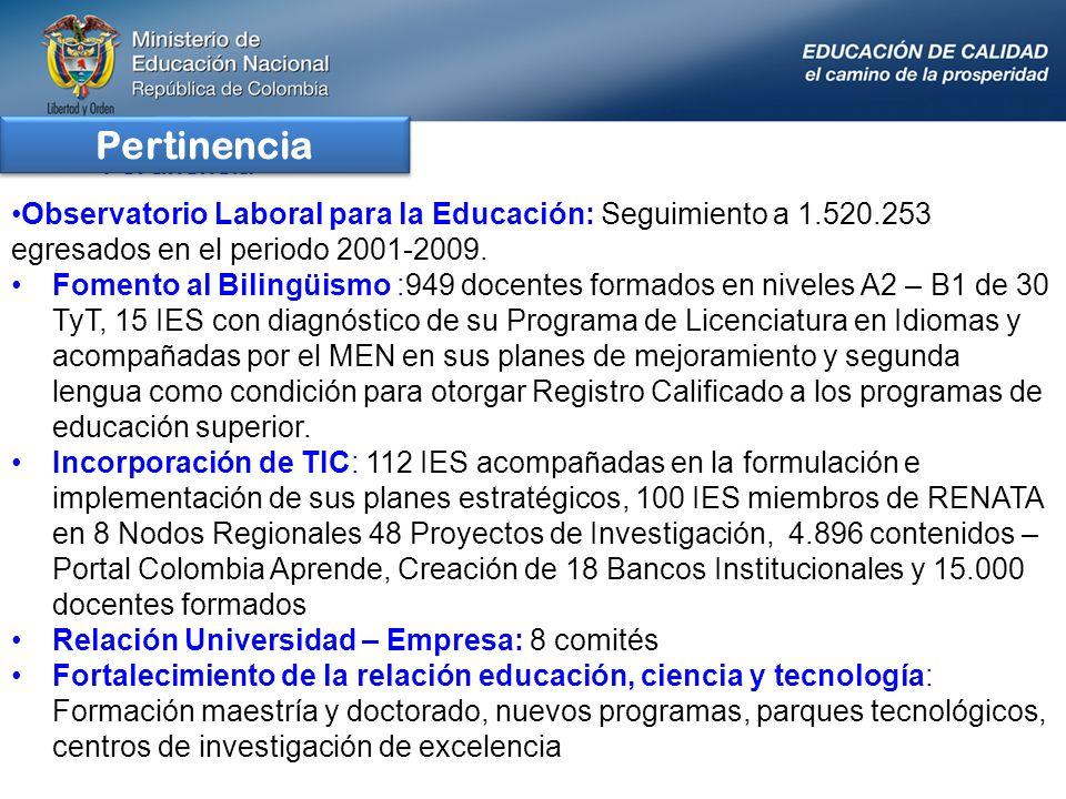 Observatorio Laboral para la Educación: Seguimiento a 1.520.253 egresados en el periodo 2001-2009. Fomento al Bilingüismo :949 docentes formados en ni