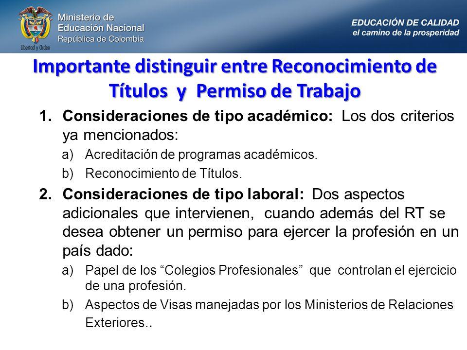 Importante distinguir entre Reconocimiento de Títulos y Permiso de Trabajo 1.Consideraciones de tipo académico: Los dos criterios ya mencionados: a)Ac