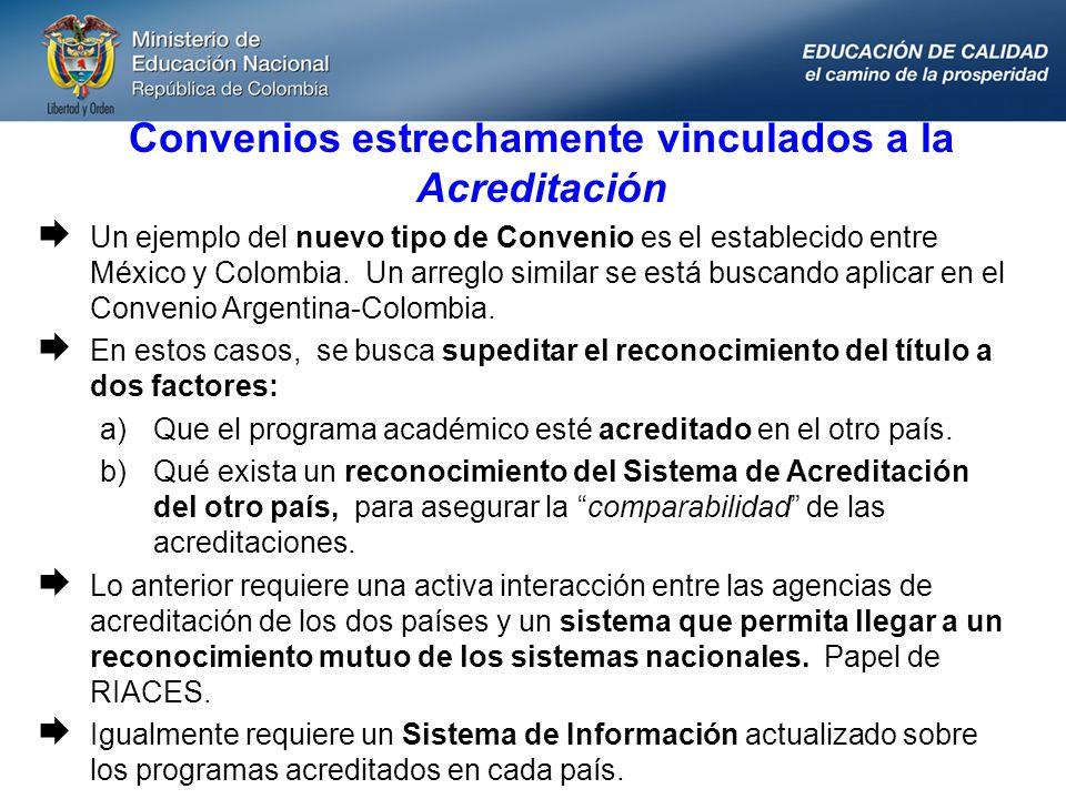 Convenios estrechamente vinculados a la Acreditación Un ejemplo del nuevo tipo de Convenio es el establecido entre México y Colombia. Un arreglo simil