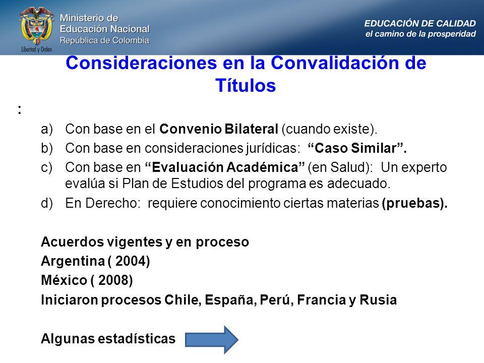 Consideraciones en la Convalidación de Títulos : a)Con base en el Convenio Bilateral (cuando existe). b)Con base en consideraciones jurídicas: Caso Si