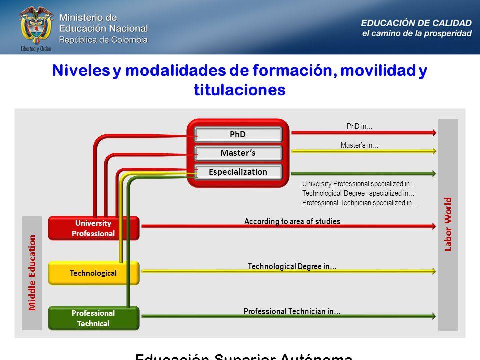 Niveles y modalidades de formación, movilidad y titulaciones PhD Masters Especialization University Professional According to area of studies Technolo