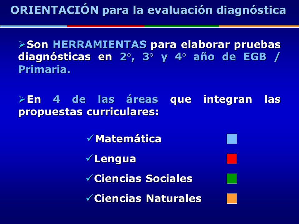 Son HERRAMIENTAS para elaborar pruebas diagnósticas en 2°, 3° y 4° año de EGB / Primaria. Son HERRAMIENTAS para elaborar pruebas diagnósticas en 2°, 3