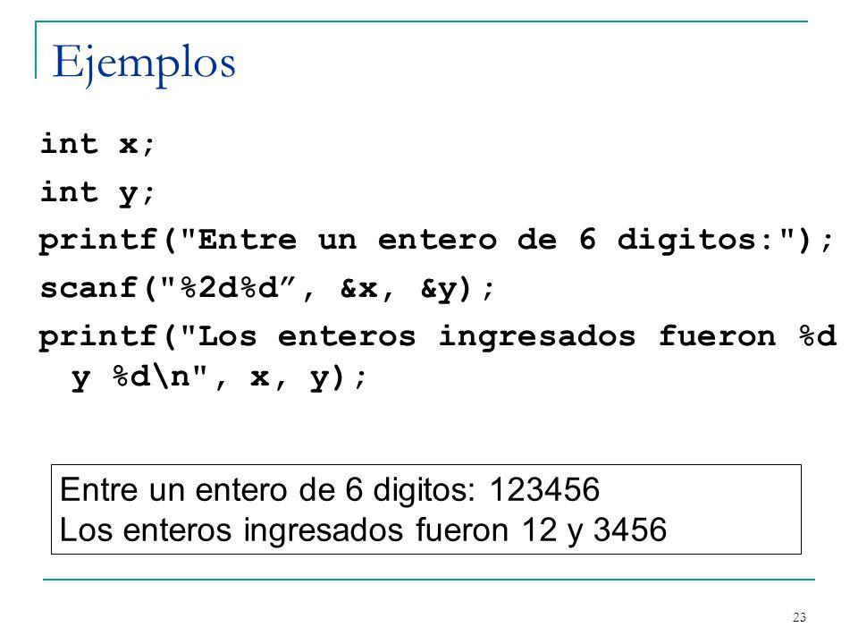 Ejemplos int x; int y; printf(