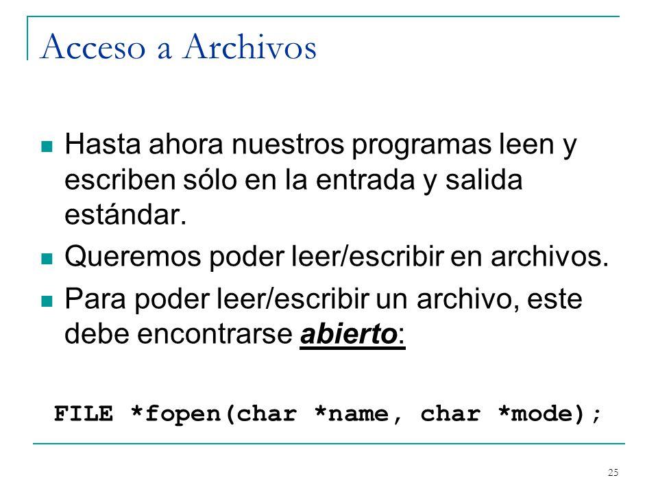 Acceso a Archivos Hasta ahora nuestros programas leen y escriben sólo en la entrada y salida estándar. Queremos poder leer/escribir en archivos. Para