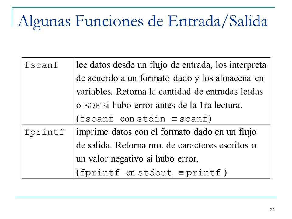 Algunas Funciones de Entrada/Salida 28 fscanf lee datos desde un flujo de entrada, los interpreta de acuerdo a un formato dado y los almacena en varia