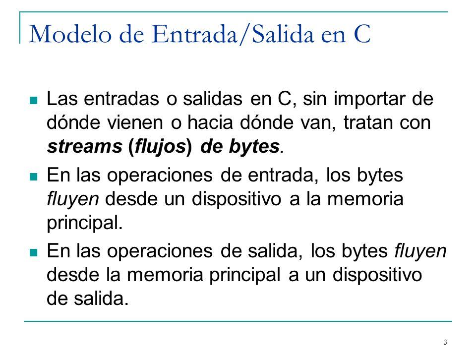 Modelo de Entrada/Salida en C Las entradas o salidas en C, sin importar de dónde vienen o hacia dónde van, tratan con streams (flujos) de bytes. En la