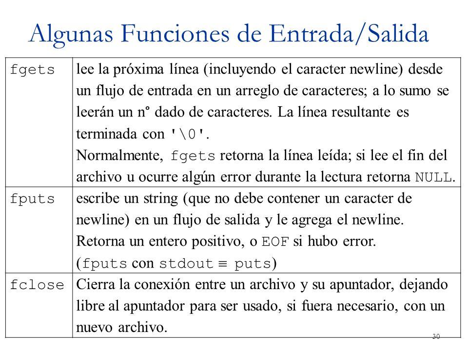Algunas Funciones de Entrada/Salida 30 fgets lee la próxima línea (incluyendo el caracter newline) desde un flujo de entrada en un arreglo de caracter