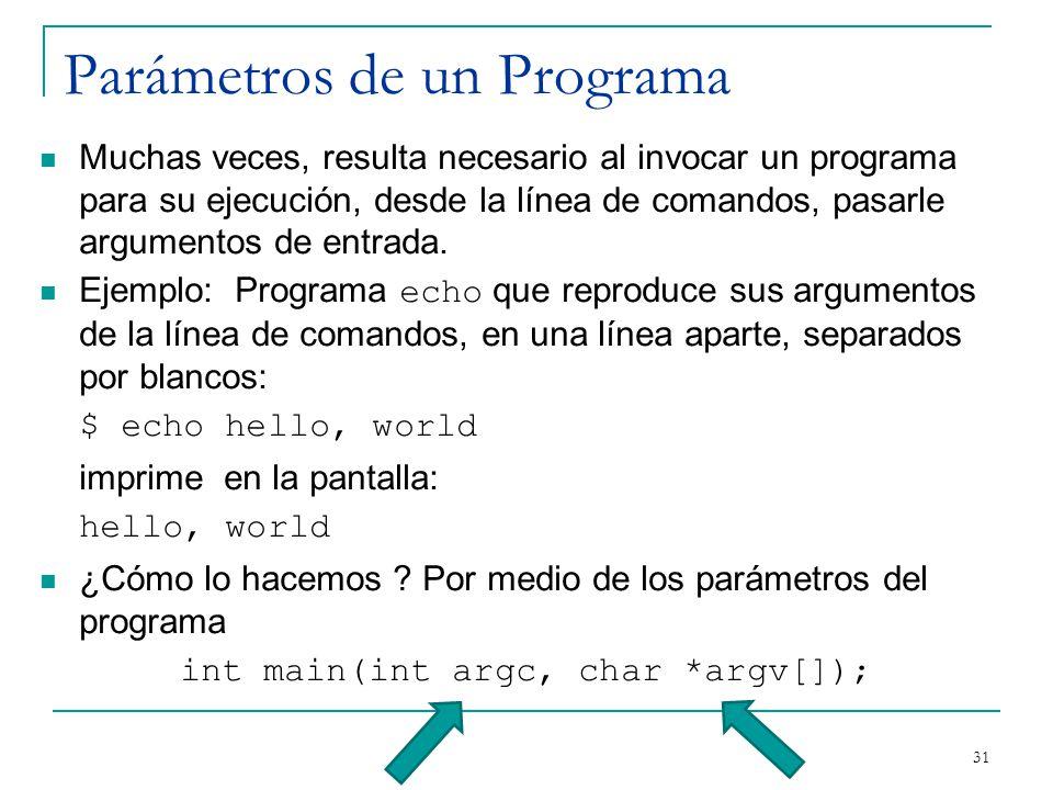 Parámetros de un Programa Muchas veces, resulta necesario al invocar un programa para su ejecución, desde la línea de comandos, pasarle argumentos de