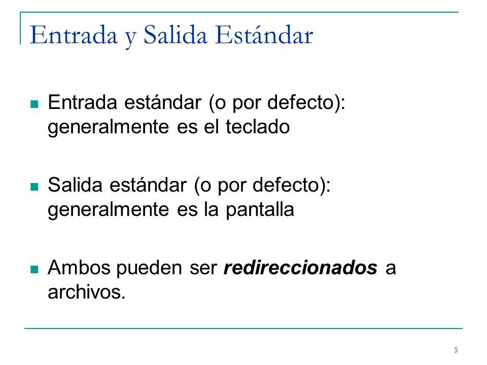 Entrada y Salida Estándar Entrada estándar (o por defecto): generalmente es el teclado Salida estándar (o por defecto): generalmente es la pantalla Am
