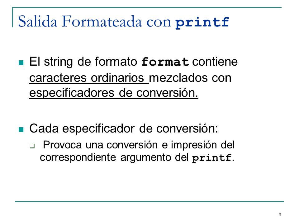 Salida Formateada con printf El string de formato format contiene caracteres ordinarios mezclados con especificadores de conversión. Cada especificado