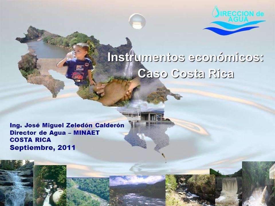 COSTA RICA Territorio:51500 km2 Población 4.6 millones PIB:US$ 11.400 Actividad principal de ingreso turismo 34 cuencas hidrológicas Capital de Agua: 28 mil m3 por persona por año 25 % territorio protegido bajo algún tipo de área silvestre protegida: Parques Nacionales, Reserva Bilógica, Reserva Forestal etc.