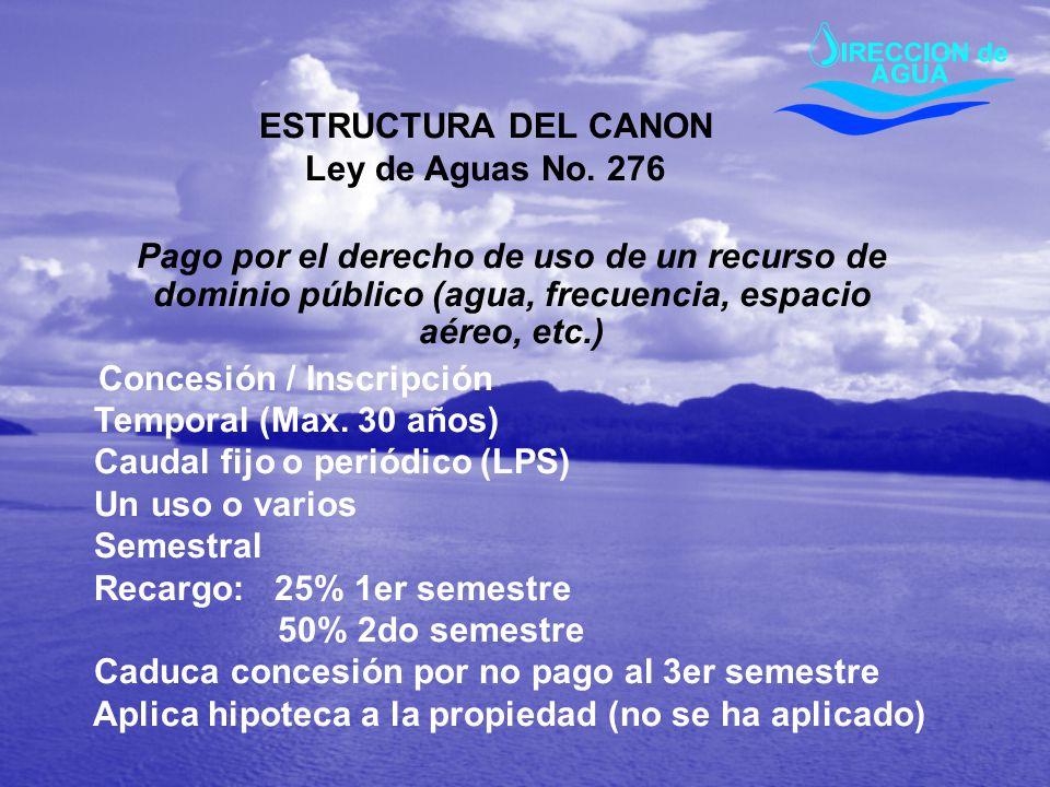 ESTRUCTURA DEL CANON Ley de Aguas No. 276 Pago por el derecho de uso de un recurso de dominio público (agua, frecuencia, espacio aéreo, etc.) Concesió