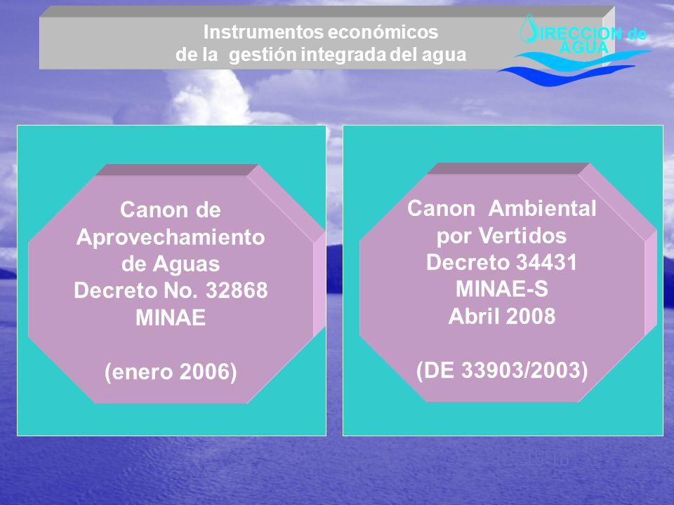 Canon de Aprovechamiento de Aguas Decreto No. 32868 MINAE (enero 2006) Canon Ambiental por Vertidos Decreto 34431 MINAE-S Abril 2008 (DE 33903/2003) I