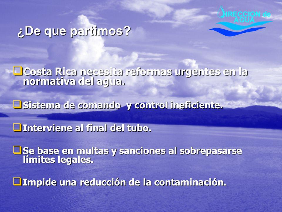 ¿De que partimos? Costa Rica necesita reformas urgentes en la normativa del agua. Costa Rica necesita reformas urgentes en la normativa del agua. Sist