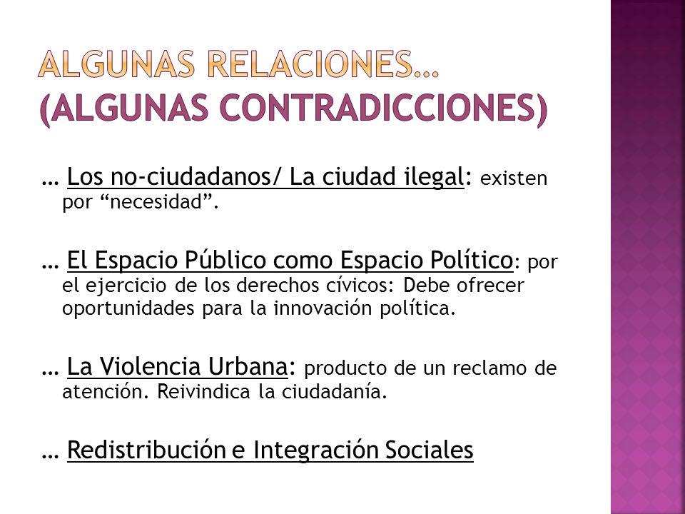 … Los no-ciudadanos/ La ciudad ilegal: existen por necesidad. … El Espacio Público como Espacio Político : por el ejercicio de los derechos cívicos: D