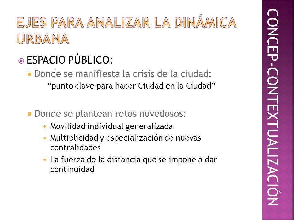 ESPACIO PÚBLICO: Donde se manifiesta la crisis de la ciudad: punto clave para hacer Ciudad en la Ciudad Donde se plantean retos novedosos: Movilidad i