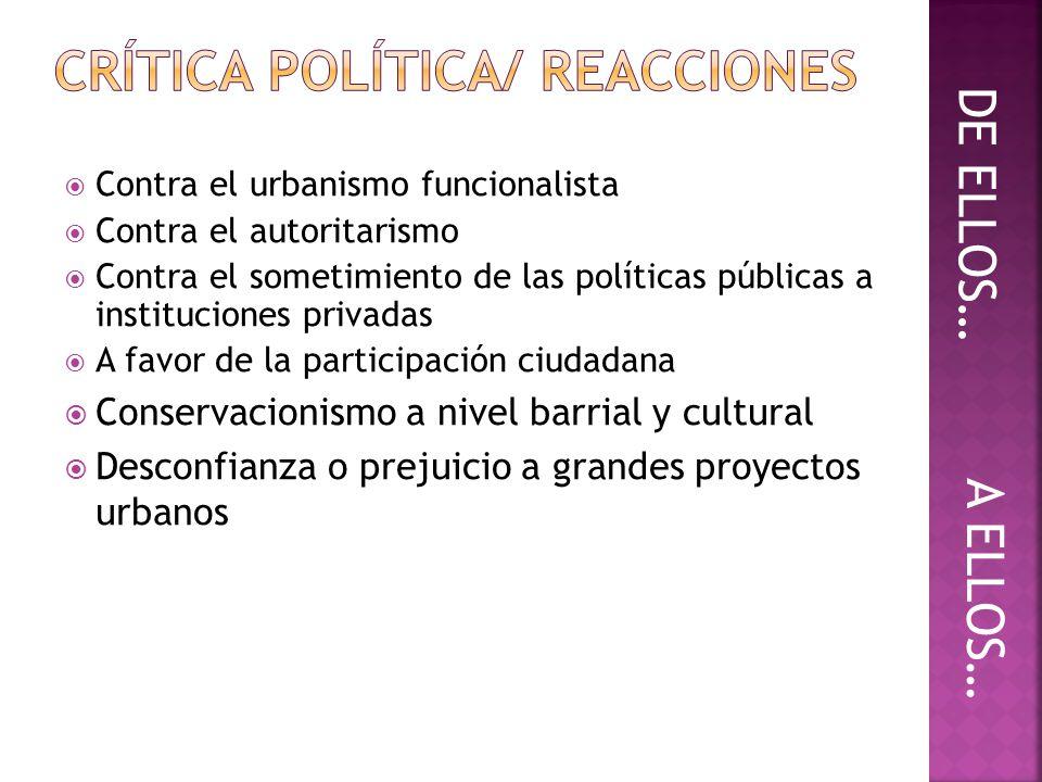 Contra el urbanismo funcionalista Contra el autoritarismo Contra el sometimiento de las políticas públicas a instituciones privadas A favor de la part