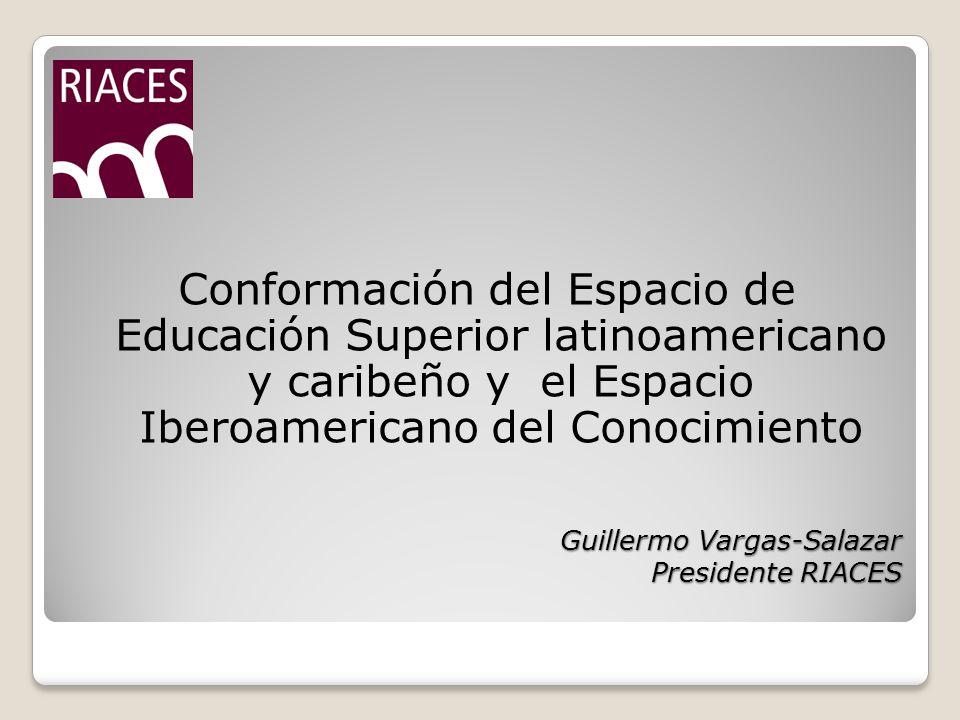 Guillermo Vargas-Salazar Presidente RIACES Conformación del Espacio de Educación Superior latinoamericano y caribeño y el Espacio Iberoamericano del Conocimiento