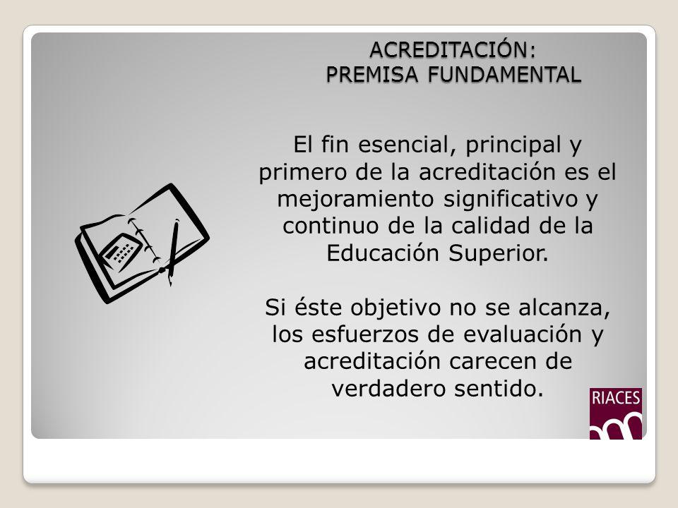 ACREDITACIÓN: PREMISA FUNDAMENTAL El fin esencial, principal y primero de la acreditación es el mejoramiento significativo y continuo de la calidad de la Educación Superior.