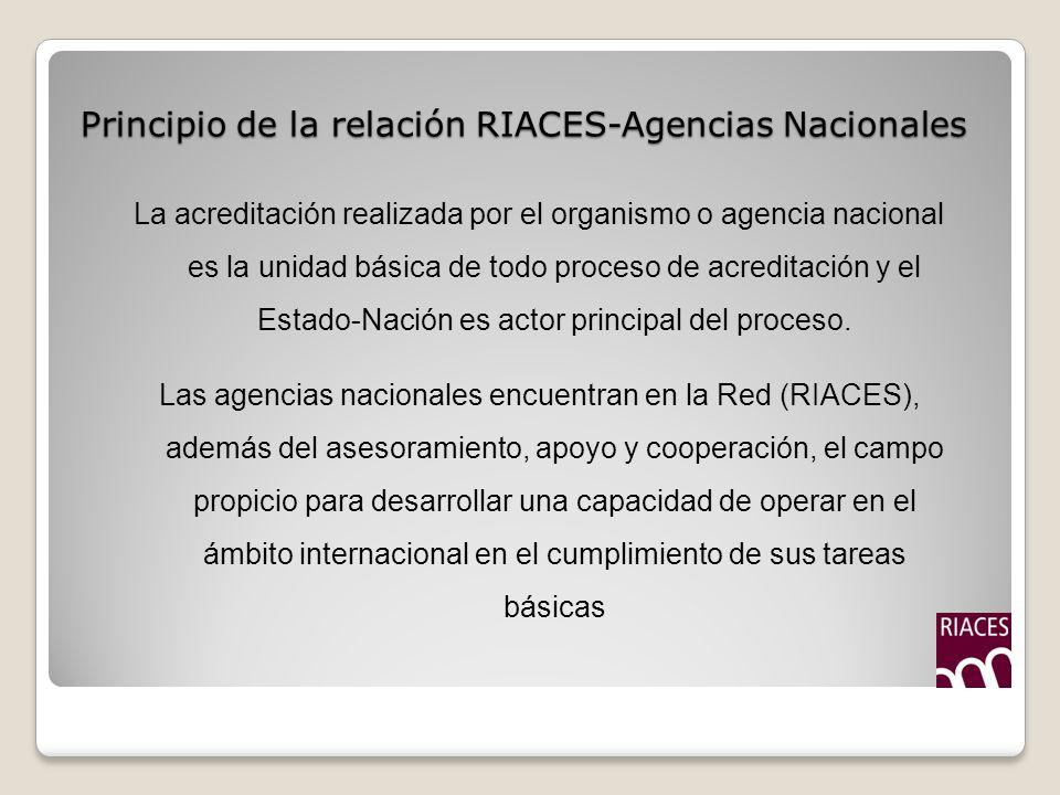 Principio de la relación RIACES-Agencias Nacionales La acreditación realizada por el organismo o agencia nacional es la unidad básica de todo proceso de acreditación y el Estado-Nación es actor principal del proceso.