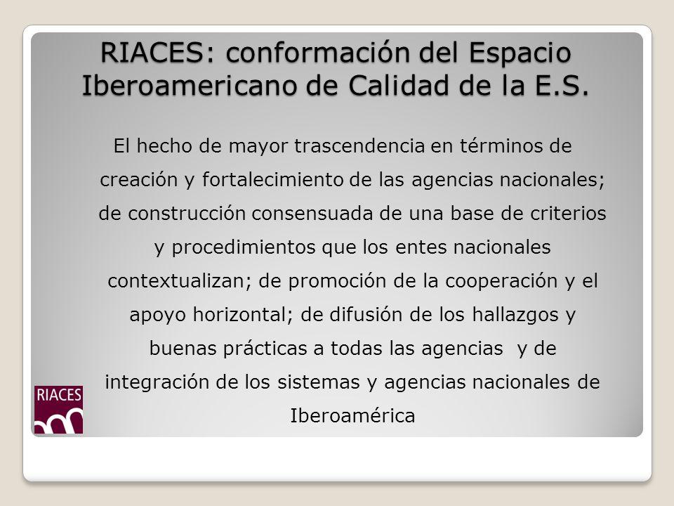 RIACES: conformación del Espacio Iberoamericano de Calidad de la E.S.