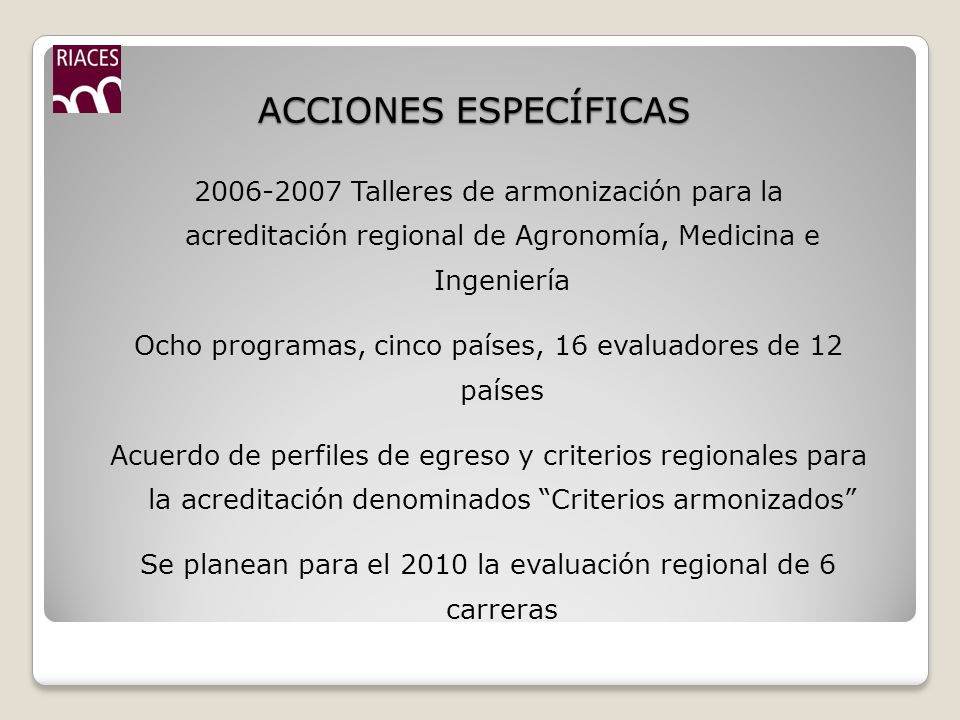 ACCIONES ESPECÍFICAS 2006-2007 Talleres de armonización para la acreditación regional de Agronomía, Medicina e Ingeniería Ocho programas, cinco países, 16 evaluadores de 12 países Acuerdo de perfiles de egreso y criterios regionales para la acreditación denominados Criterios armonizados Se planean para el 2010 la evaluación regional de 6 carreras