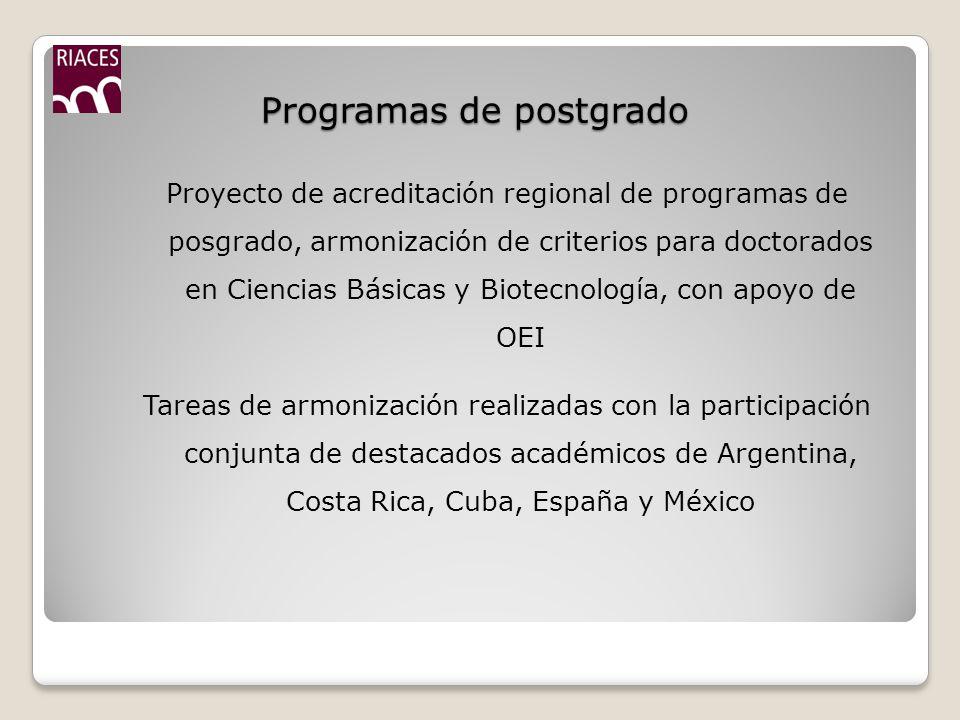 Programas de postgrado Proyecto de acreditación regional de programas de posgrado, armonización de criterios para doctorados en Ciencias Básicas y Biotecnología, con apoyo de OEI Tareas de armonización realizadas con la participación conjunta de destacados académicos de Argentina, Costa Rica, Cuba, España y México
