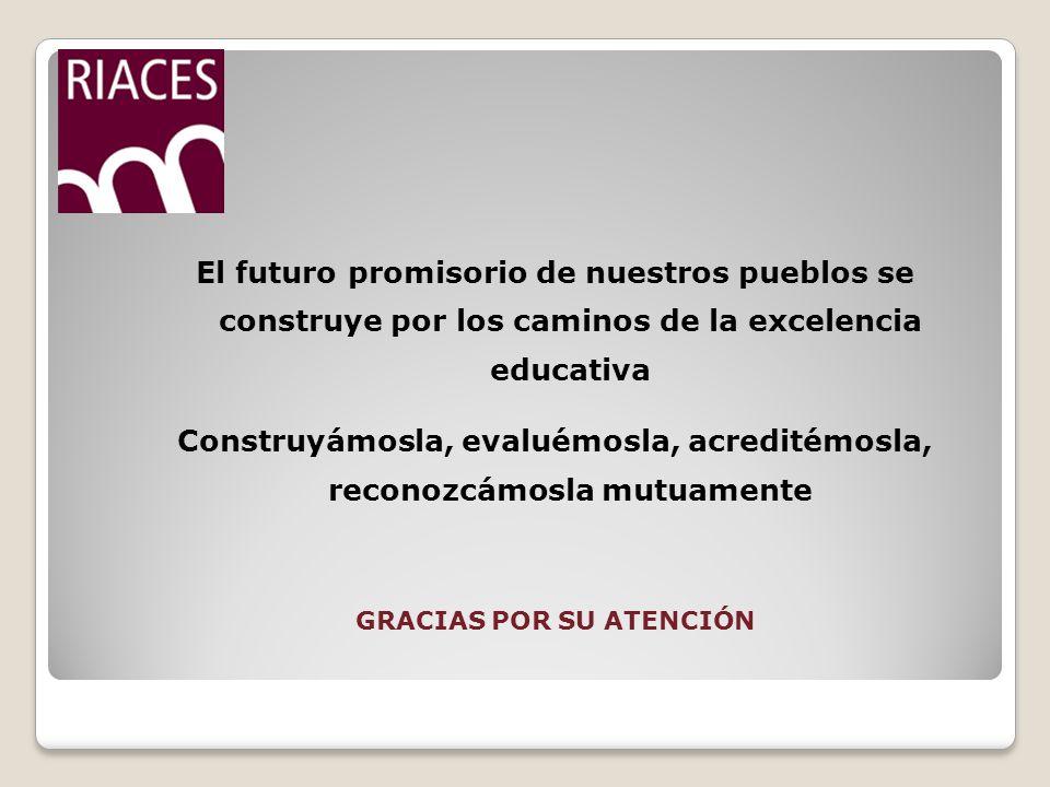 El futuro promisorio de nuestros pueblos se construye por los caminos de la excelencia educativa Construyámosla, evaluémosla, acreditémosla, reconozcámosla mutuamente GRACIAS POR SU ATENCIÓN