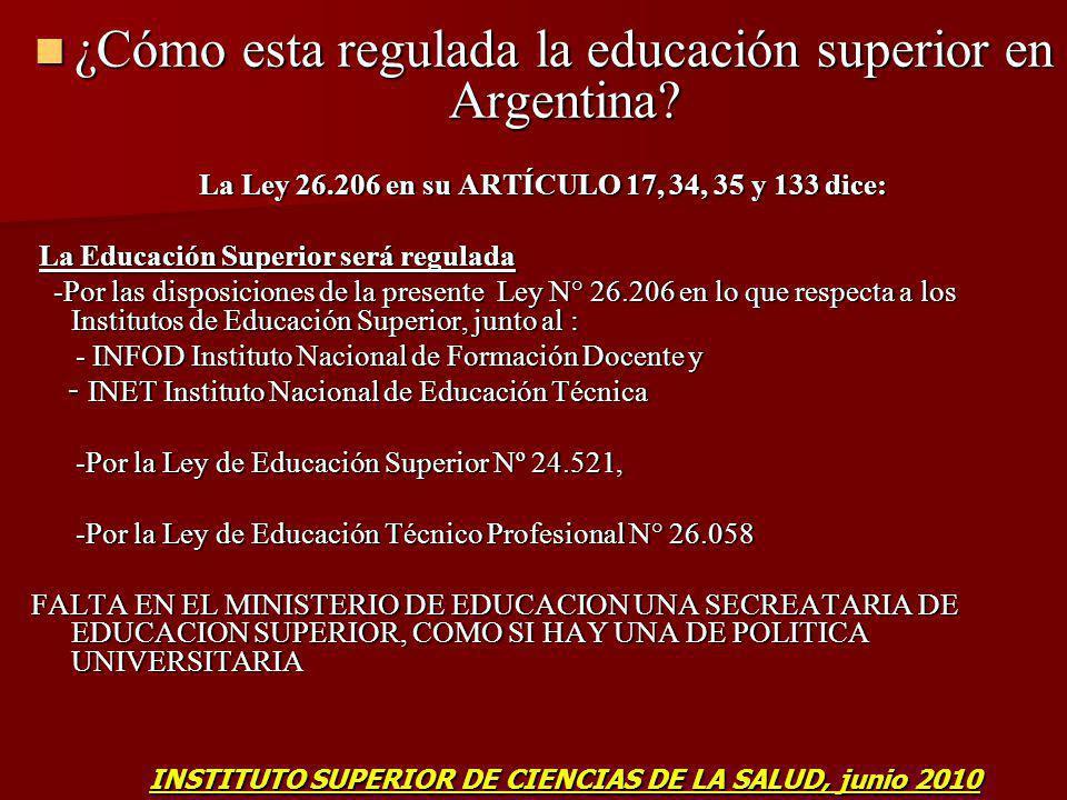 ¿Cómo esta regulada la educación superior en Argentina? ¿Cómo esta regulada la educación superior en Argentina? La Ley 26.206 en su ARTÍCULO 17, 34, 3