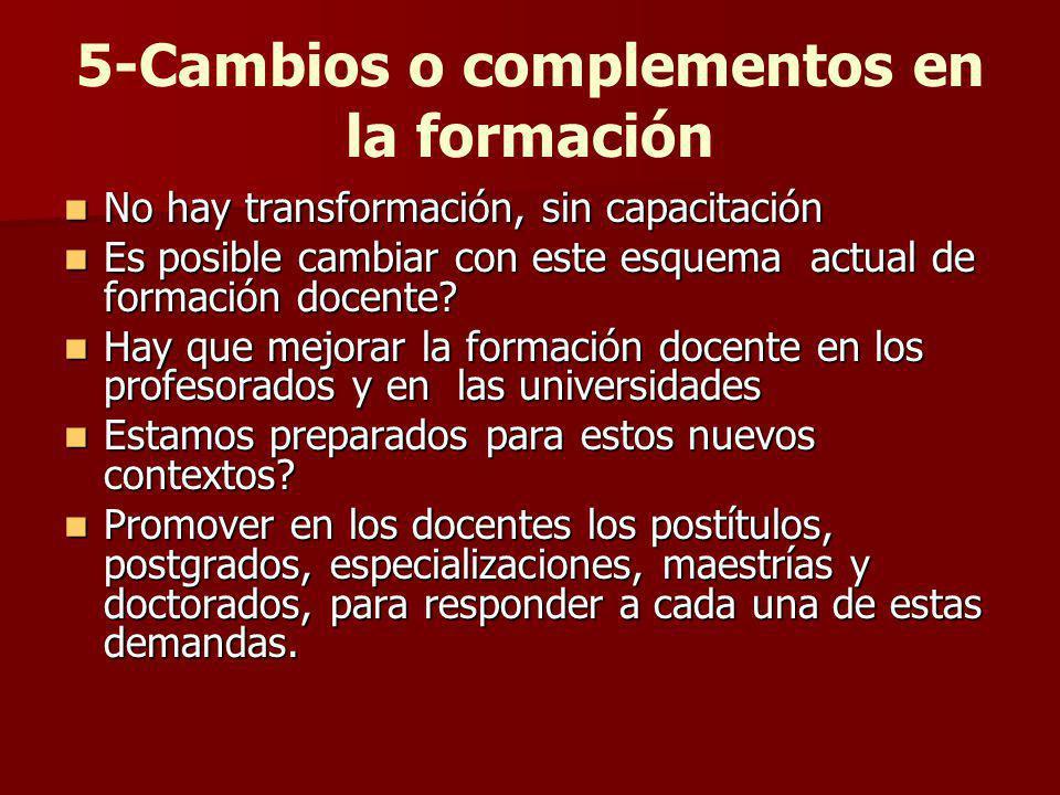 5-Cambios o complementos en la formación No hay transformación, sin capacitación No hay transformación, sin capacitación Es posible cambiar con este e