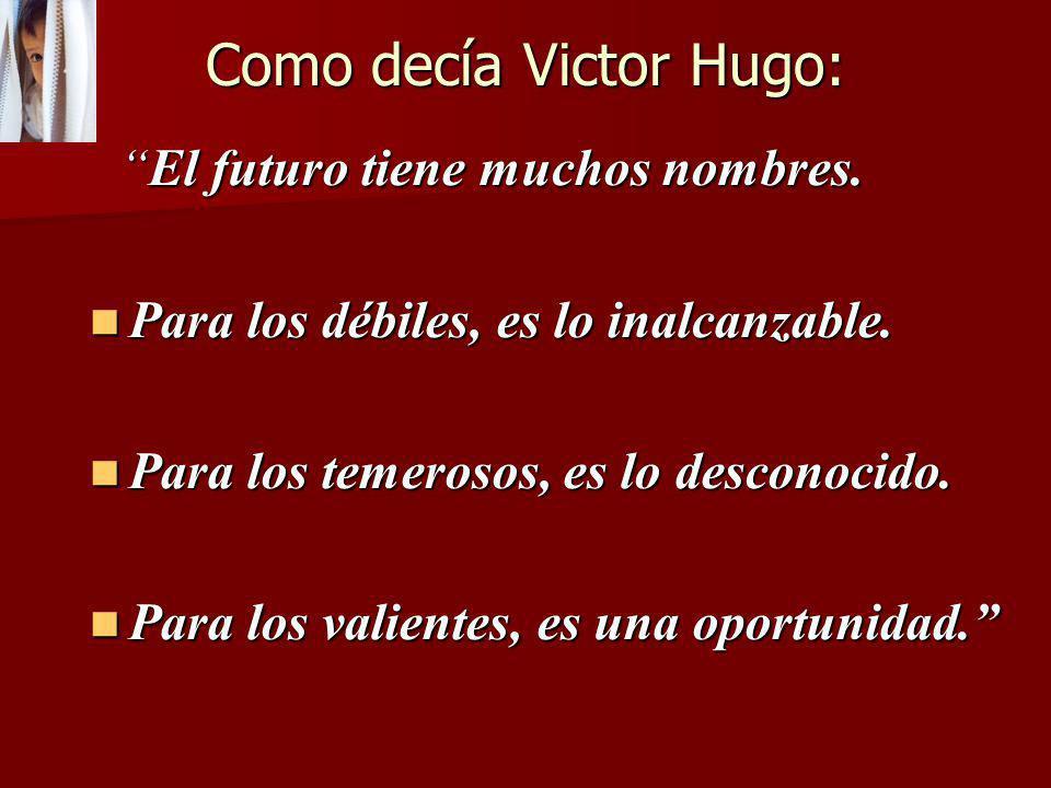 Como decía Victor Hugo: El futuro tiene muchos nombres.El futuro tiene muchos nombres. Para los débiles, es lo inalcanzable. Para los débiles, es lo i