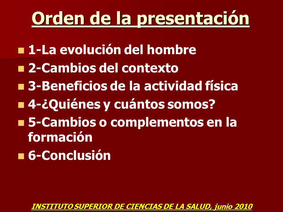Orden de la presentación 1-La evolución del hombre 2-Cambios del contexto 3-Beneficios de la actividad física 4-¿Quiénes y cuántos somos? 5-Cambios o