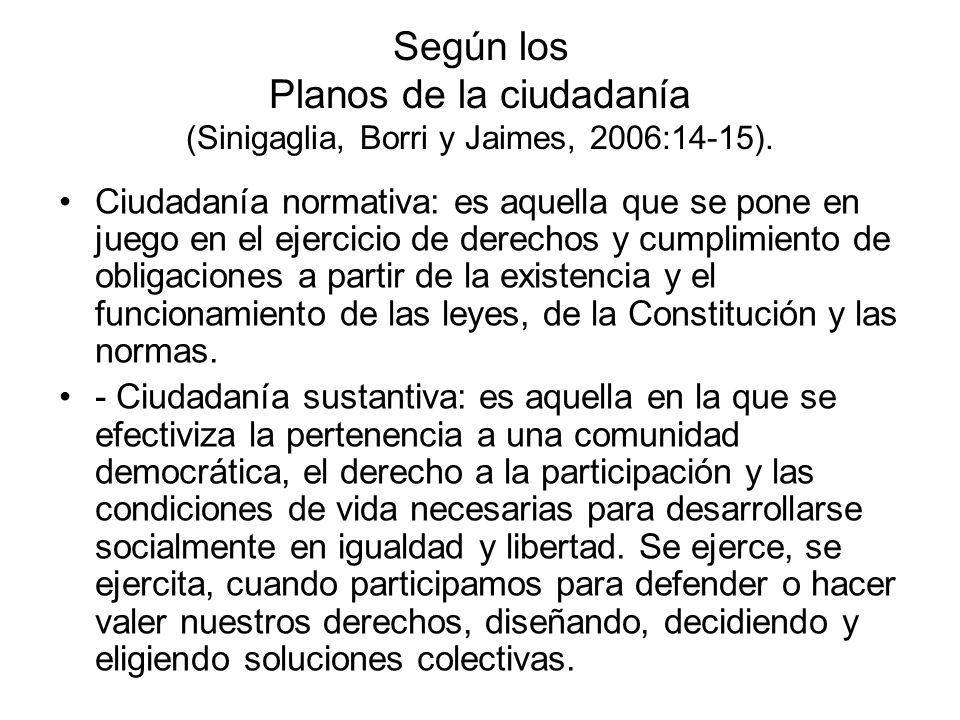 Según los Planos de la ciudadanía (Sinigaglia, Borri y Jaimes, 2006:14-15). Ciudadanía normativa: es aquella que se pone en juego en el ejercicio de d