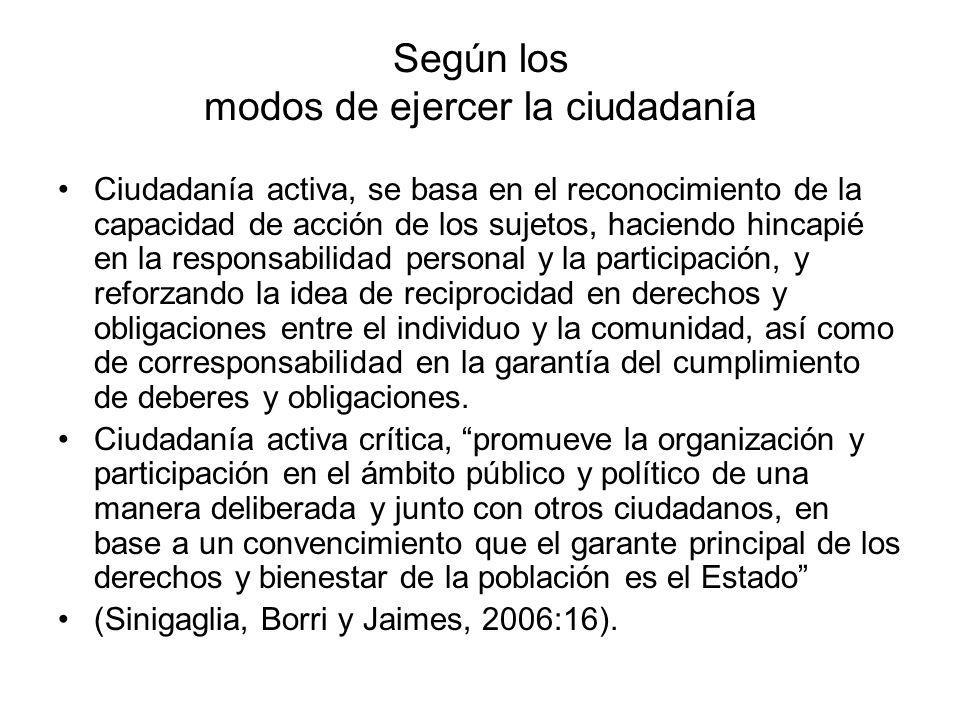 Según los modos de ejercer la ciudadanía Ciudadanía activa, se basa en el reconocimiento de la capacidad de acción de los sujetos, haciendo hincapié e
