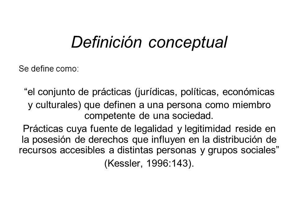 Definición conceptual Se define como: el conjunto de prácticas (jurídicas, políticas, económicas y culturales) que definen a una persona como miembro