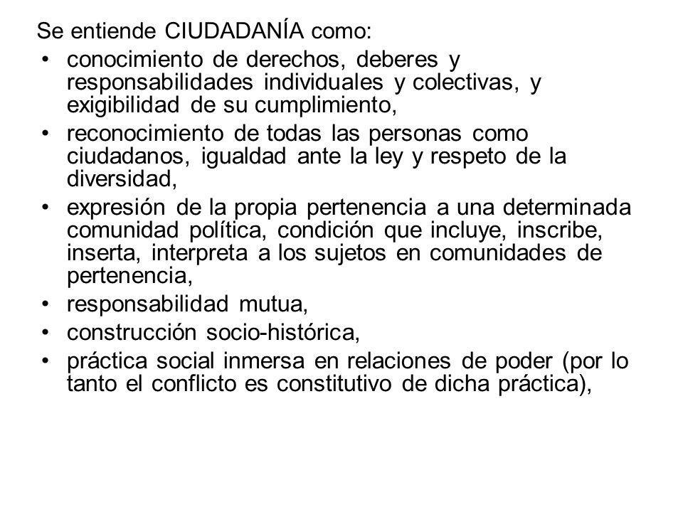 Se entiende CIUDADANÍA como: conocimiento de derechos, deberes y responsabilidades individuales y colectivas, y exigibilidad de su cumplimiento, recon
