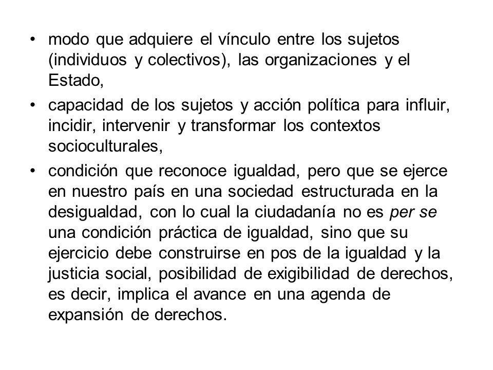 modo que adquiere el vínculo entre los sujetos (individuos y colectivos), las organizaciones y el Estado, capacidad de los sujetos y acción política p