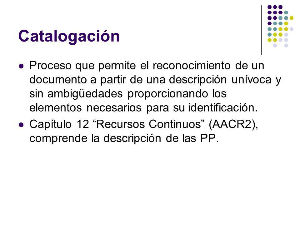 Catalogación Proceso que permite el reconocimiento de un documento a partir de una descripción unívoca y sin ambigüedades proporcionando los elementos