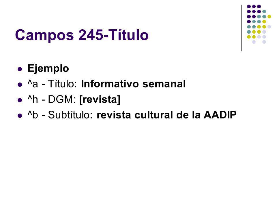 Campos 245-Título Ejemplo ^a - Título: Informativo semanal ^h - DGM: [revista] ^b - Subtítulo: revista cultural de la AADIP